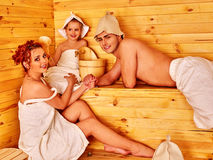 Group people in hat  at sauna Royalty Free Stock Photos