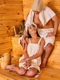 Group people in hat at sauna. Royalty Free Stock Photos