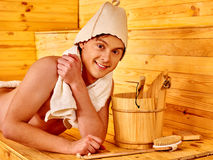 Group people in hat  at sauna Stock Photo