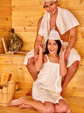 Group people in hat at sauna. Stock Photo