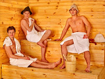 Group people in  hat  at sauna Stock Images
