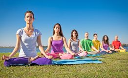 Group of people have meditation on yoga class. Group of young people have meditation on yoga class. Yoga concept royalty free stock photo