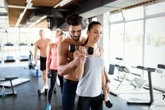 Group of people have workout in gym Royalty Free Stock Image