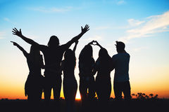 Group of people having fun outdoors Royalty Free Stock Image