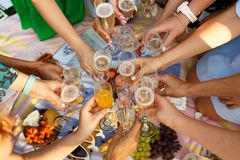Group of people having outdoor picnic meal togetherness dining toasting glasses. Summer weekends royalty free stock image