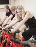Group of people having spinning class Royalty Free Stock Image