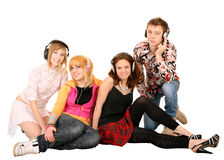 Group of people in headphone. Royalty Free Stock Photo