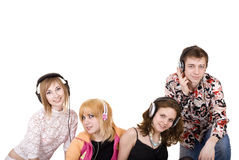 Group of people in headphone listen music. Stock Image