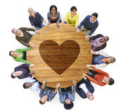 Group of People with Heart Shape Stock Photography