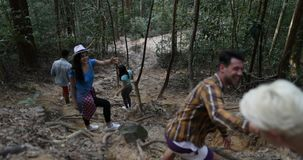 Group Of People Help Each Other To Walk Donwhill In Forest, Team Of Young Tourists On Hike Together. Slow Motion 60 stock footage