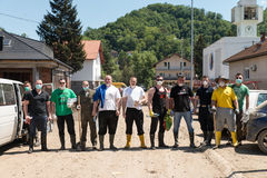 Group Of People Helping In Maglaj After Flood Natural Disaster Royalty Free Stock Photos