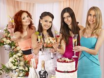 Group people at hen-party. Royalty Free Stock Image