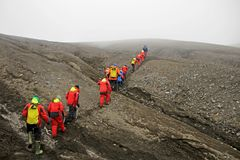 Group of people hiking at Deception Island, Antarctica Royalty Free Stock Photos