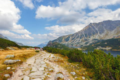 group of people hiking in Five lakes valley in High Tatra Mountains, Poland Stock Image