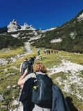 Group People Hiking on Hill royalty free stock photo