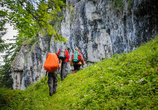 Group of people hiking Stock Image