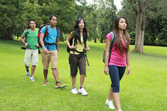 Group of people hiking together Royalty Free Stock Photography