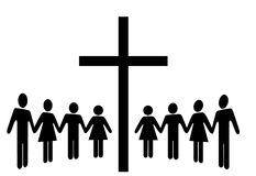 Group of People Hold Hands Gather Around a Cross Royalty Free Stock Photos