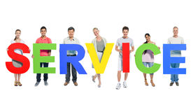 Group of People Holding Alphabet Service Concept Stock Photography