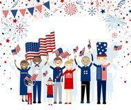 Group of people holding american flag with fireworks. On white background USA 4th july independence day and other celebration Royalty Free Stock Image