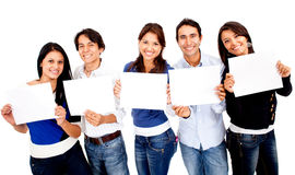 Group of people holding banners Stock Photo