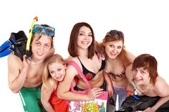 Group people holding beach accessories. Royalty Free Stock Images