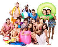 Group people holding beach accessories. Stock Photography