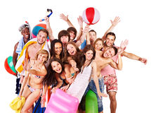 Group people holding beach accessories. Stock Image