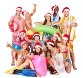 Group people holding beach accessories. Stock Images