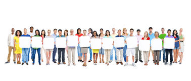Group Of People Holding A Blank Board Stock Image