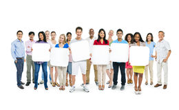 Group Of People Holding Blank Boards Stock Photography