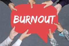 Group of people holding burnout ill illness stress stressed at w Stock Photo