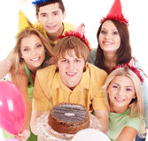 Group people holding cake. Stock Photos