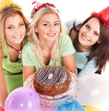 Group people holding cake. Royalty Free Stock Photos
