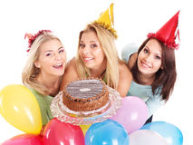 Group people holding cake. Stock Photography