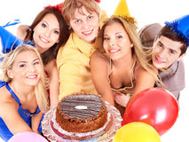 Group People Holding Cake. Royalty Free Stock Photography