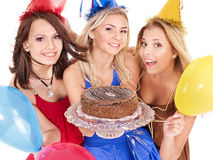 Group people holding cake. Stock Photo