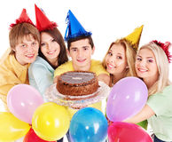 Group people holding cake. Stock Images