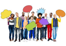 Group of People Holding Colorful Speech Bubbles Royalty Free Stock Image