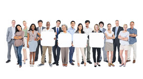 Group Of People Holding 4 Empty Placards Stock Photo