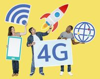 Group of people holding 4G technological icons Vector Illustration