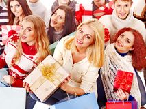 Group people holding gift box. Royalty Free Stock Images