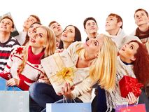 Group people holding gift box. Royalty Free Stock Photo