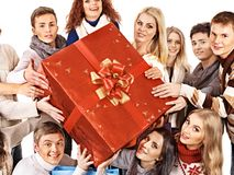 Group people holding gift box. Royalty Free Stock Photography