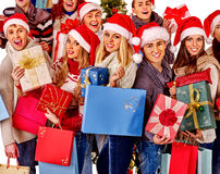 Group people holding gift box Royalty Free Stock Photos