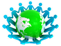 Group of people holding hands around globe Stock Photo
