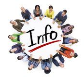 Group of People Holding Hands Around Word Info Royalty Free Stock Images