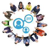 Group of People Holding Hands with Avatar Symbol.  royalty free stock images