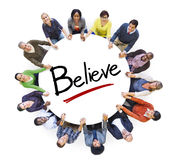 Group of People Holding Hands and Belief Concept Stock Images
