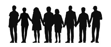 Group of people holding hands silhouette 3 Royalty Free Stock Image